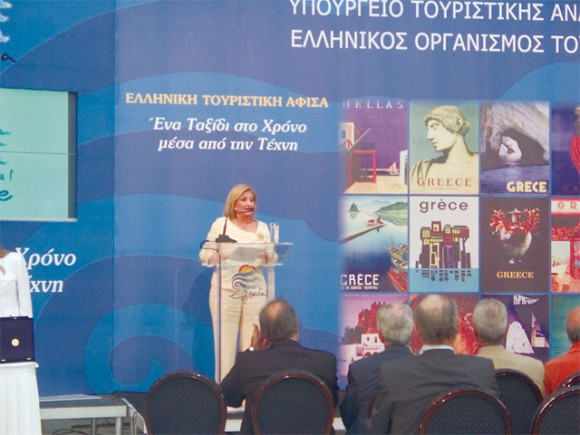Tourism Development Minister Fanni-Palli Petralia opens the Greek tourism poster exhibition at Zappio.