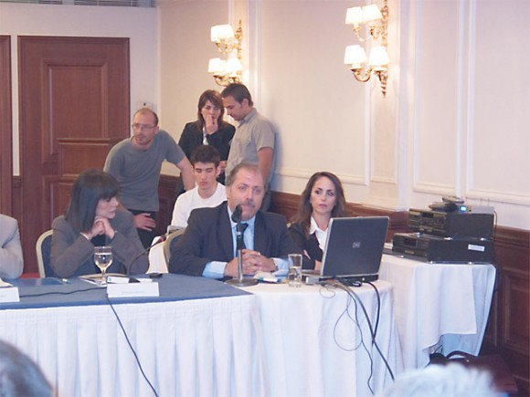 Professor Michael Sfakianakis at the presentation of the Satellite Account and Portal at the recent assembly of the national tourism council.