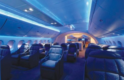 The state-of-the art interior of the new Boeing 787.