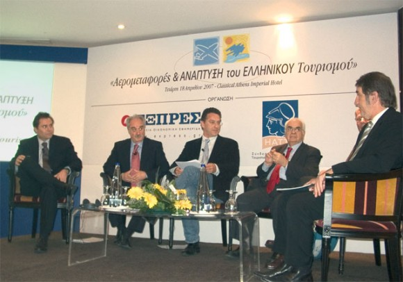 One of the panels at the airline conference included: Eftichios Vassilakis, vice chairman of Aegean Airlines; Yiannis Evangelou, president of the Hellenic Association of Travel and Tourist Agencies; the panels moderator; and Nikos Skoulas, chairman of Trinity International School for Tourism Management and former Greek tourism minister and chairman of the Greek National Tourism Organization.