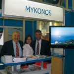 "Athanasios Kousathanas-Megas, vice mayor of Mykonos; Mandalena Kambouroglou, hotelier of San Antonio Summerland on Mykonos; and Andreas N. Fiorentinos, president of the Hotelier's Association of Mykonos, at the island's stand at the WTM fair. Conde Nast Traveler announced that Mykonos was voted ""Best European Island"" for 2008 according to its 21st Annual Readers Choice Awards."