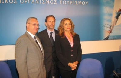 Outgoing Tourism Minister Kostas Markopoulos with new Culture and Tourism Minister Pavlos Geroulanos and Deputy Minister Angela Gerekou.