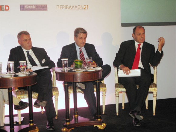 Vasilis Avramopoulos, managing partner of Avramopoulos and Partners; Panos Panagiotopoulos, general manager of the Athenaeum InterContinental; and Tim Ananiadis, Starwood area manager for Greece, Turkey and Cyprus.
