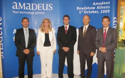 The Amadeus team at the company's presentation in Athens: Jean Marc Garzulino, Eva Karamanou, Juan Antonio Carrasco, Guillaume Kozinski, and Luis Lechuga. The event was part of the Amadeus CESE Roadshow '09.