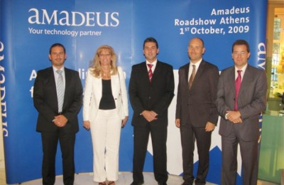 The Amadeus team at the company's presentation in Athens: Jean Marc Garzulino, Eva Karamanou, Juan Antonio Carrasco, Guillaume Kozinski, and Luis Lechuga. The event was part of the Amadeus CESE Roadshow '09.