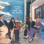 The Hellenic Seaways' stand was busy continuously with professional visitors. In our photo: Eleni Grapsa of G.E. Travel; Ilias Bekiaris, sales representative for Hellenic Seaways; Fenia Efthimiou; G.E. Travel; and Stathis Vrachnos, sales representative for Hellenic Seaways.