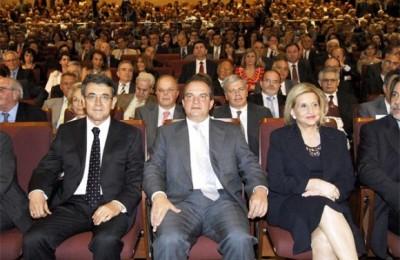 SETE President, Stavros Andreadis, Prime Minister Constantinos Karamanlis, and Tourism Minister Fanni Palli-Petralia.