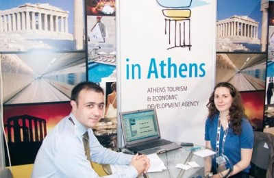 Manolis Psarros, manager of the tourism development In Athens and Danae Kefaloyiannis, representative of the In Athens team.
