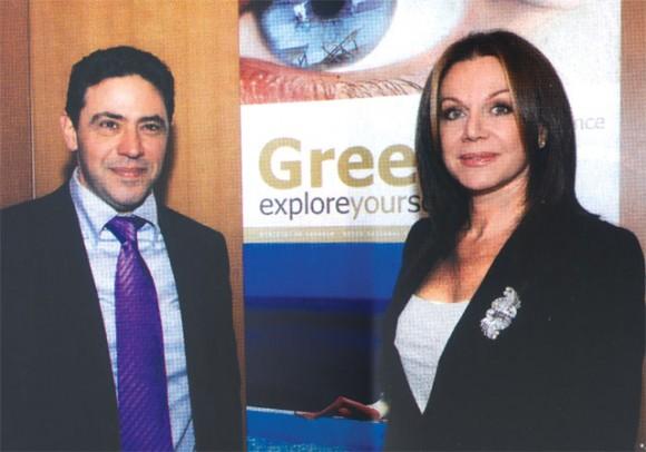 Makis Seriatos, president of Ashley Worldgroup Southeastern Europe; and Agapi Vardinogianni, president of Karamella, during the recent unveiling of Greece's new advertising program abroad.