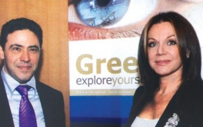 Makis Seriatos, president of Ashley Worldgroup Southeastern Europe; and Agapi Vardinogianni, president of Karamella, during the recent unveiling of Greece's new advertising program abroad.