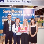 Destination manager of La Greca D.M.C Chris Panagiotopoulos with Diane Panagiotopoulos, president of La Greca D.M.C; Diane Piron of Groupes Resid Hotel who was the winner of the D.M.C draw; Dorina Stathopoulou, owner and manager of Plaka and Hermes Hotel.