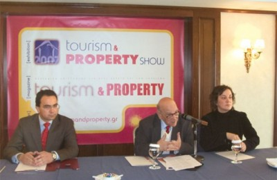 Panos Skliamis, managing director of the new Tourism and Property exhibition; Nikos Kampanis, publisher of the magazine Tourism and Property; and Vicky Magoulioti, commercial manager for Real Travel, the company behind Tourism and Property.