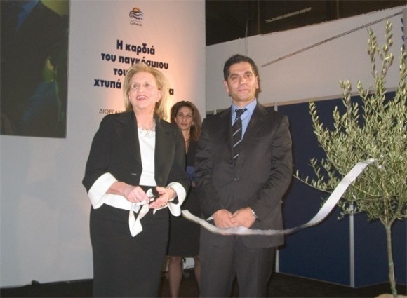 Greek Tourism Minister Fanny Palli-Petralia snipped the ribbon at the opening ceremony with Giorgos Karachristos, MACT S.A.'s president and managing director, the exhibition organizer.