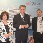 Travelway's Anna Polychronaki, cruise and sales executive, with Spyros Hambas, chief executive officer, and Leo Abu-Dahar, sales and marketing executive. Travelway, the general representative for Costa Crociere cruises in Greece, organized a reception and tour aboard the brand new Costa Concordia.