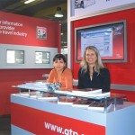 GTP's Olga Kontou, sales assistant, and Madalena Pappas, news editor, at the exhibition.