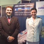 Louis Hellenic Cruises' George D. Paliouras, sales manager for the Greek market, pictured with a crewmember. Louis Group's turnover increased 18% for the first nine-month period of 2006, reaching 165.2 million euro, an increase of 28.2 million for Louis Cruises and 11.7 million for Louis Hotels.