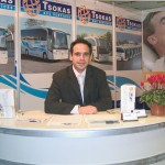 Christos Zenios, sales manager for Tsokas Travel, a company whose fleet of 38 luxurious buses serve two million customers every year. Tsokas Travel recently moved to new offices on Messogion Avenue in Halandri.