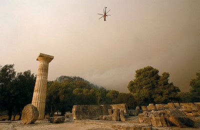 Ancient Olympia's archeological site was in danger from the uncontrolled fire.