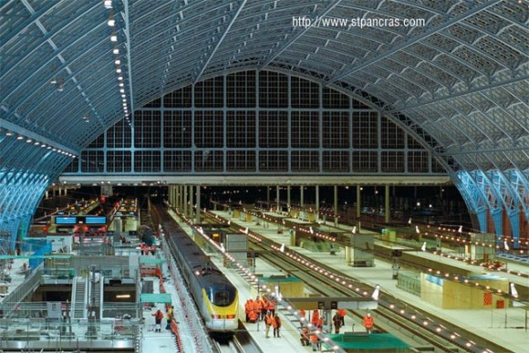 Renovation of St.Pancras train station, in central London, to suit requirements of the Eurostar train that will commence its route next month.