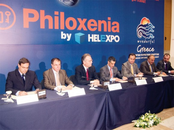 From the left, Yiannis Vermissos, Spiros Efstathopoulos, Margaritis Tzimas, Aris Spiliotopoulos, Aristototelis Thomopoulos and Athanasios Oikonomou, at the press conference held on the second day of Philoxenia 2007.