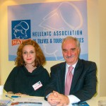 Ismini Papadopoulou, private secretary and Yiannis Evangelou, president of HATTA, who expressed his satisfaction for the events organized by the association at Philoxenia and the awards held to honor travel agency brochures.