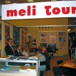 Babis Bramos (left), area manager of Meli Tours, with the Meli Tour team, at the busy stand.