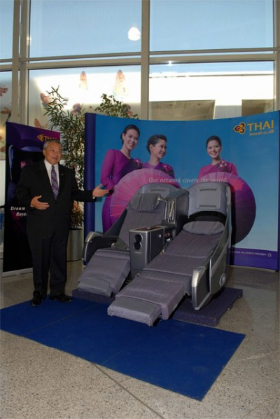 General manager of Thai Airways, Suhagun Divaveja, presents the airline's business class seats.