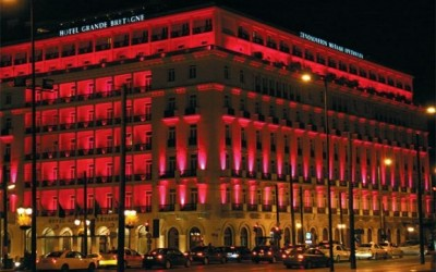 Grande Bretagne Hotel in pink light, as part of the Estee Lauder campaign for breast cancer.