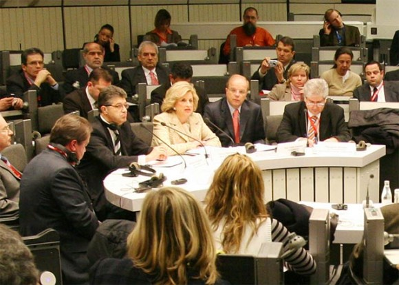 The well attended press conference given by Greek Minister of Tourism Fani Palli-Petralia, during ITB Berlin 2006.