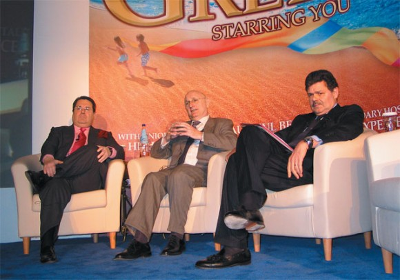 Eulogio Bordas, president and founder of Barcelona-based tourism marketing and consulting firm THR; Jean-Claude Baumgarten, president of the World Travel and Tourism Council; and Aris Zarpenely, vice president of Silversea Cruises.
