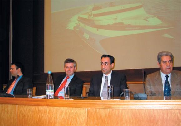 Aegean's Georgos Dikos, Sea Containers' Peter Walker, Aegean's president Georgos Zissimopoulos and its managing director, Yiannis Tsavaras.