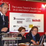 Christos Nikolaidis, chairman of the organizing committee for Exclusive Travel, introduces one of the panels during the fair's conference on extending Greece's tourism season.