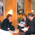 Madeleine Madianou, who was recently appointed the MICE director for the Chandris hotel group, with two foreign buyers interested in organizing meetings, incentives and seminars in Greece for their bigger telecommunication company clients. Madeleine and her team held more than 24 appointments with foreign buyers in a single day.