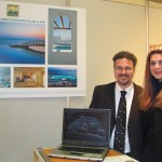 Manolis Trasanis, the new manager of the Saint John Hotel, Villas and Spa on Mykonos, with Marirena Troulinou, the hotel's public relations specialist. Visitors to the stand learned of the unit's more than 2,000 square meters of outdoor convention and function space next to the hotel's impressive pool area, which is ideal for gala dinners and events for up to 800.