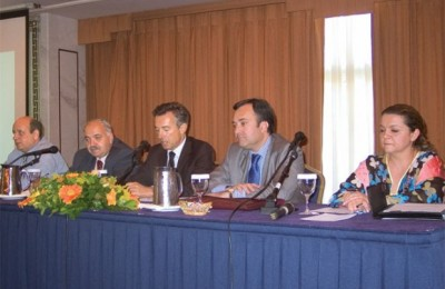 Aristotelis Thomopoulos, first vice-president; Spiros Galiatsatos, general secretary; Andreas Andreadis, president; Kostas Leventis, third vice-president; and Maria-Eleni Mamidakis, director of public and international relations.