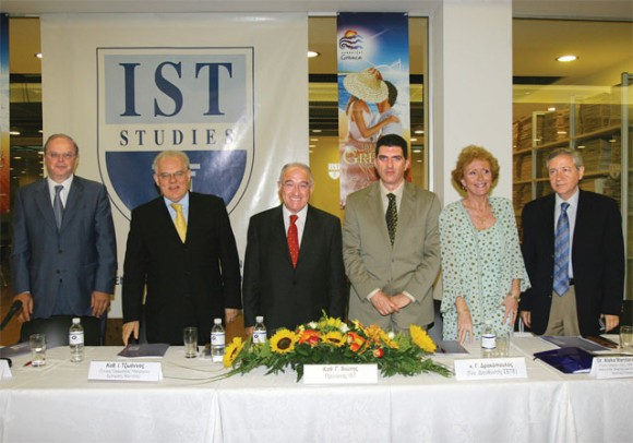 Haris Kokkosis, special secretary for strategic planning in the ministry of tourism; Ioannis Tzoannos, general secretary in ministry of merchant marine; Giorgos Chiotis, dean of IST; Giorgos Drakopoulos, general manager of SETE; Aleka Madaraka-Sheppard, founding director of LSLC, ORA and UCL; and Dimitris Vasilakis, president of EPEST.