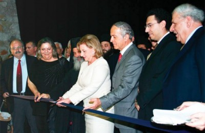 At the ribbon-cutting ceremony: Elsa Papadimitriou, MP for Argolida; Bishop Efraim for Hydra, Spetses; Fani Palli-Petralia, minister of tourism; Vasilis Sotiropoulos, prefect of Argolida; Menelaos Siakolas, president and managing director for AKS hotels.