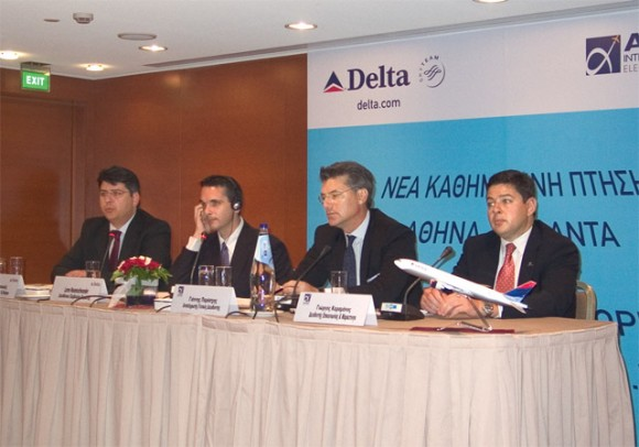 Dimitri Karagioules, Delta's commercial director for Greece and Cyprus, at the press conference with Loren Neuenschwander, Delta's managing director Atlantic Region; Dr. Yiannis Paraschis, deputy CEO of Athens International Airport; and Giorgos Karamanos, manager of communications and marketing.