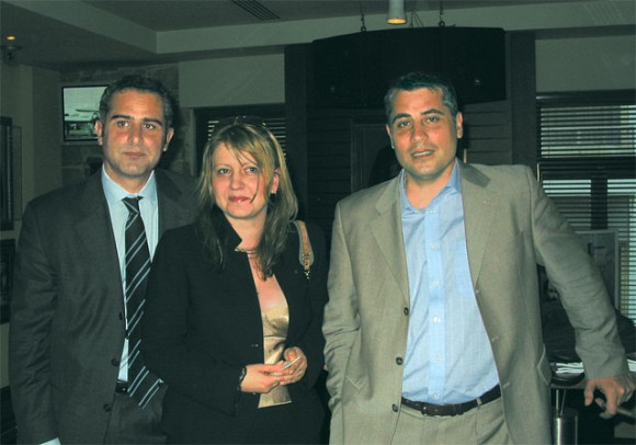 TAROM's commercial manager, Roger Gatt; TAROM's manager for Greece, Anna Maria Ardelean; and Club Med's commercial manager for Greece, Robert Gatt, at an event the airline held to celebrate the opening of its offices in Greece.