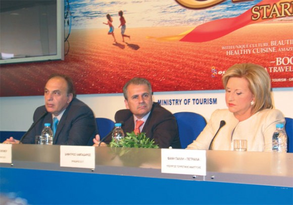 Thanasis Economos, Hellenic Tourism Organization's (GNTO) general secretary; Dimitris Lampadarios, GNTO president; and Tourism Minister Fani Palli-Petralia.