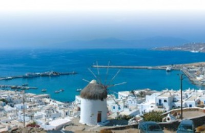 Panoramic view of Mykonos town.