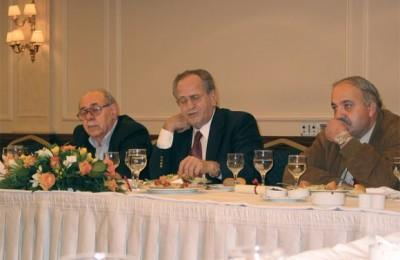 Hellenic Chamber of Hotels' vice president, Vassilis Plevris; the chamber's president, Gerasimos Fokas; and the chamber's second vice president Spyros Galiatsatos.