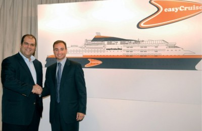 EasyCruise's Stelios Haji-Ioannou with Ioannis Tavoularis of Neorion Holdings making plans for the future.
