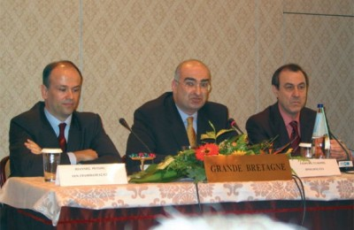 Ioannis Retsos, Giorgos Tsakiris and Loukas Douvas of EXA at last month's general assembly meeting.
