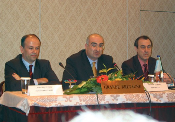 Ioannis Retsos, Giorgos Tsakiris and Loukas Douvas of EXA at last month's general assembly meeting.