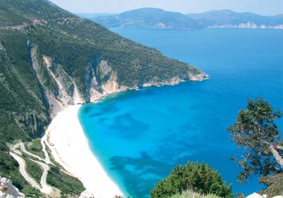 Kefalinia's famous Myrtos beach.