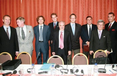 Members of the panel pictured are Laurent Monsaingeon of MedCruise Association; Bill Gibbons of the European Cruise Council; Mario Sennacheribbo of Baleares Consignatarios; Frederik Naumann of Sartori and Berger; Yiannis Evangelou of HATTA; John Tercek of Royal Caribbean International; George Stathopoulos of Louis Hellenic Cruises, Dr. Stelios Kiliaris of Louis Group; Capt. Paris Katsoufis of Kyma Ship Management; and, Larry Pimentel of Sea Dream Yacht Club.