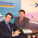 Andreas Stylianopoulos of Navigator Travel with George Paliouras, who recently left Cruiseplan and is now director of sales at Louis Hellenic Cruises. Mr. Stylianopoulos said he was surprised and very pleased with the amount of work he and his staff handled during the fair.