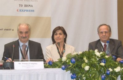 Tourism session moderator, Yiannis Evangelou, president of the Hellenic Association of Travel and Tourism Agencies, with Evangelia Maslarinou, chief commercial officer of Olympic Airlines, and Makis Fokas, president of the Hellenic Chamber of Hotels.