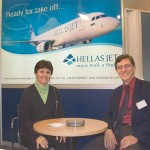 Nikos Spyridakis, commercial director for Hellas Jet with his spouse, Christina. The company, now fully owned by Dimitrios Marantos of AirMiles, intends to begin scheduled flights to Western European destinations as of May first.
